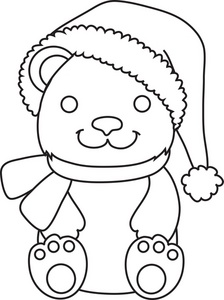 224x300 Christmas Teddy Bears Coloring Page