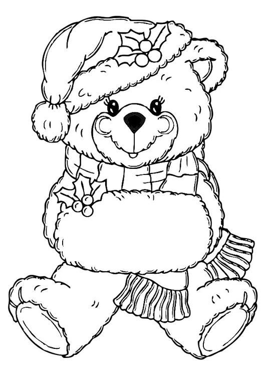 531x750 Coloring Page Christmas Bear