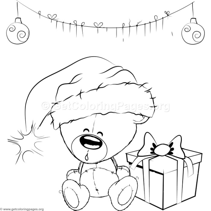 700x700 Cute Christmas Teddy Bear Coloring Pages