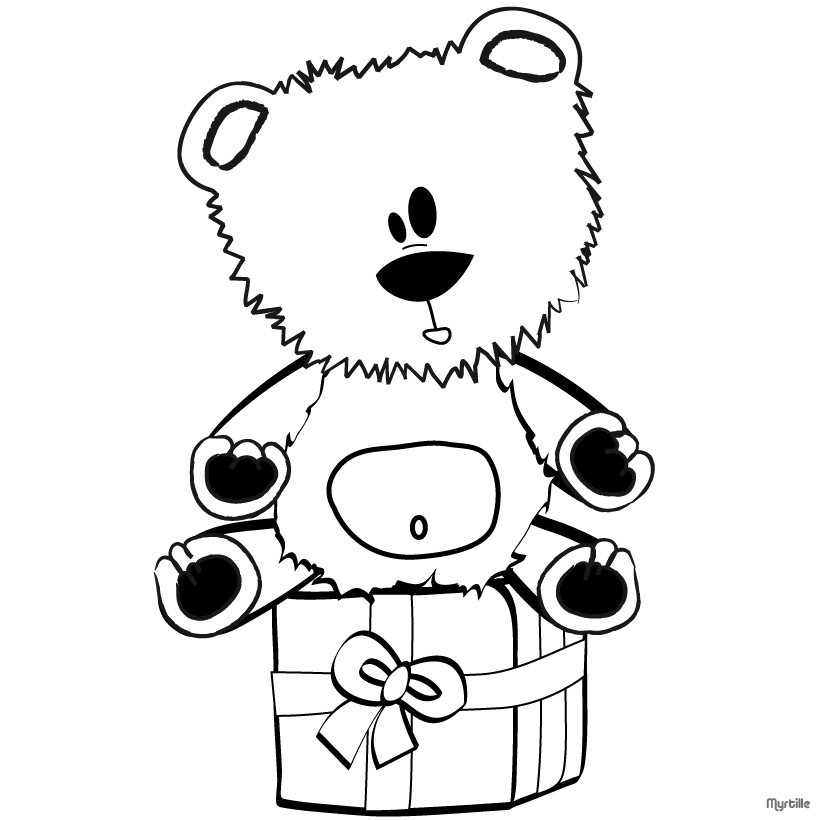 820x820 Teddy Bear On Gift Box Coloring Pages