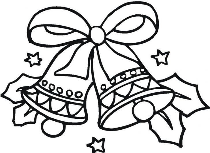 728x531 Coloring Page Of A Christmas Bell