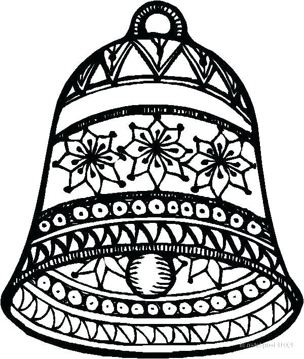 600x707 Christmas Bells Coloring Pages Bell Coloring Pages Clocks Bells