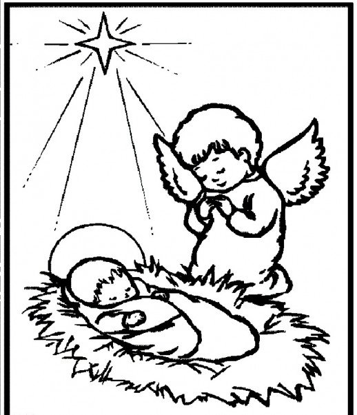 518x602 A Little Angel Praying For Baby Jesus The World Savier Christmas
