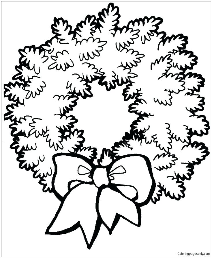 735x892 Christmas Bow Coloring Page Wreath With Bow Coloring Page