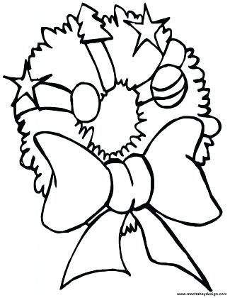 325x420 Christmas Bow Coloring Sheets Printable Wreath Coloring Page