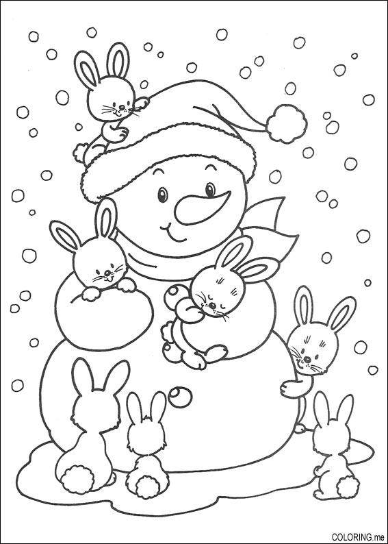 567x794 Coloring Page Christmas Snowman And Rabbits