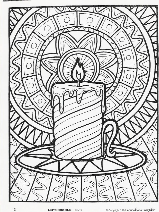 636x844 Christmas Candle Coloring Page