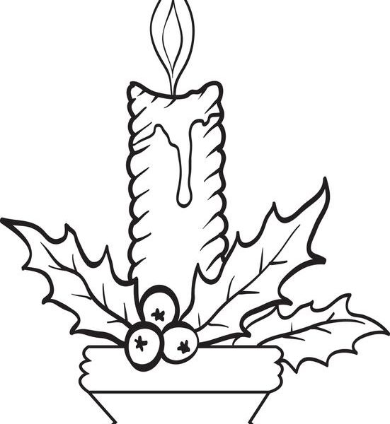 551x600 Christmas Candle Coloring Page Free Coloring Page