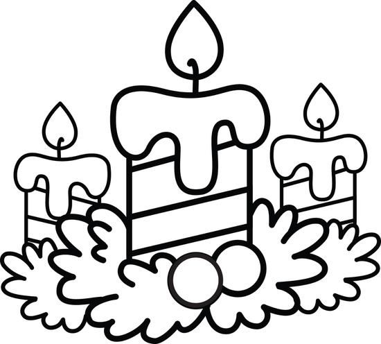550x496 Christmas Candles Coloring Page