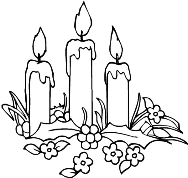 600x569 Decorating Christmas Candle Coloring Pages