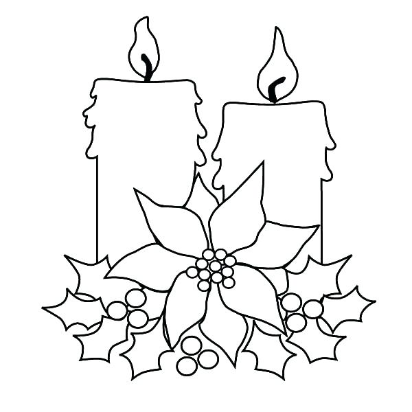 600x600 Free Christmas Candle Coloring Pages On Light Page Color Fuhrer