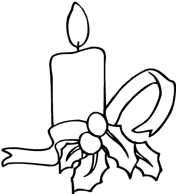 600x660 Simple Decoration Of Christmas Candle Coloring Pages