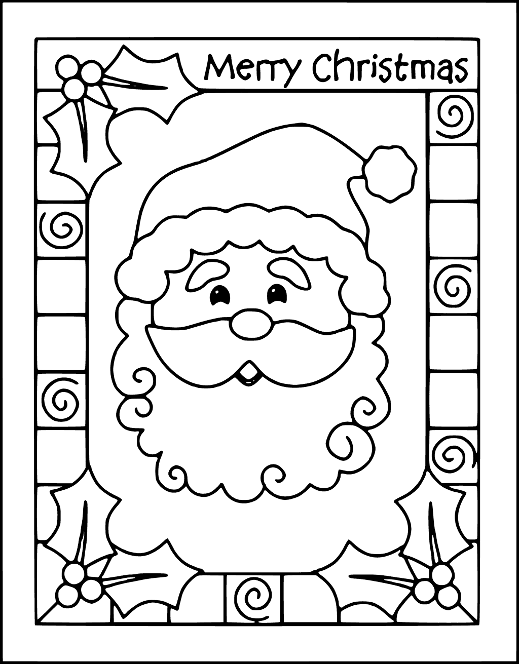 1024x1311 Free Printable Christmas Card Coloring Pages