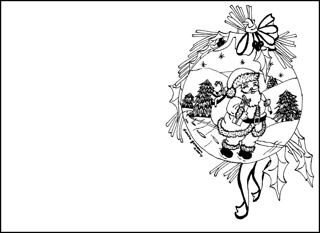 1050x763 Perspective Christmas Card Coloring Printable Free Pages For Cards