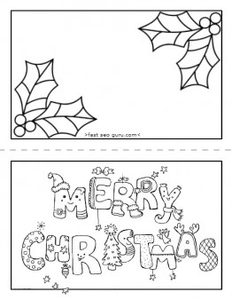 262x338 Printable Merry Christmas Card Coloring Page For Kids