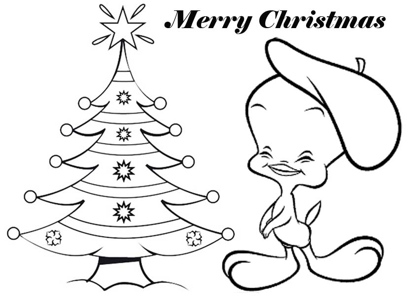 850x600 Tweety Bird Merry Christmas Card Coloring Pages Free Coloring Pages