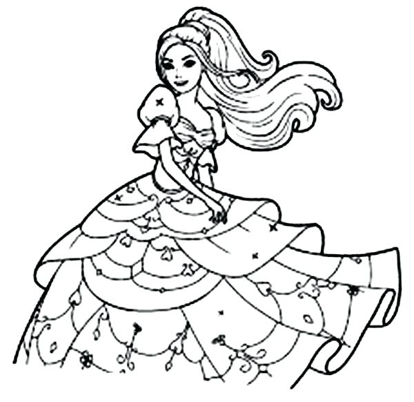 600x582 Barbie Coloring Pages Long Haired Barbie Coloring Pages Barbie