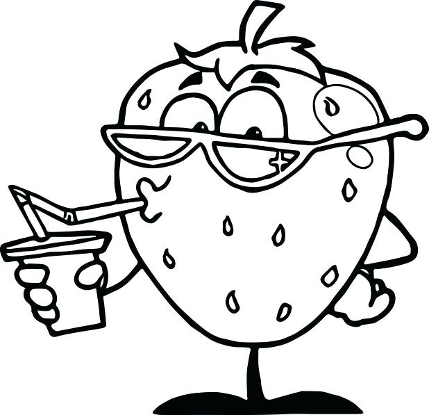618x597 Cartoon Character Coloring Pages Strawberry Drink Cartoon