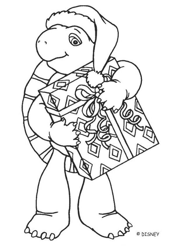 607x850 Franklin With Christmas Gift Coloring Pages