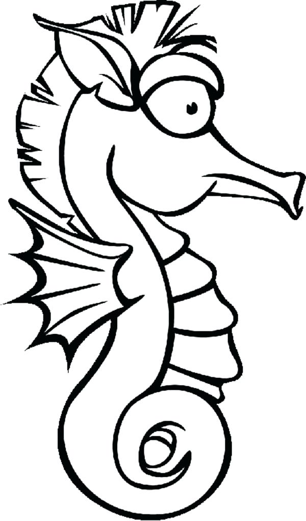 600x1022 Lovely Horse Coloring Pages For Kids Or Seahorse As A Cartoon