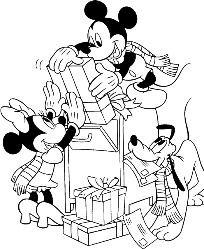 700x854 Mickey Mouse Christmas Coloring Pages