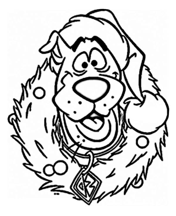 600x738 Scooby Wearing Christmas Wreath Coloring Page