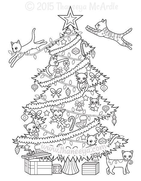 Christmas Cat Coloring Pages At Getdrawings Com Free For