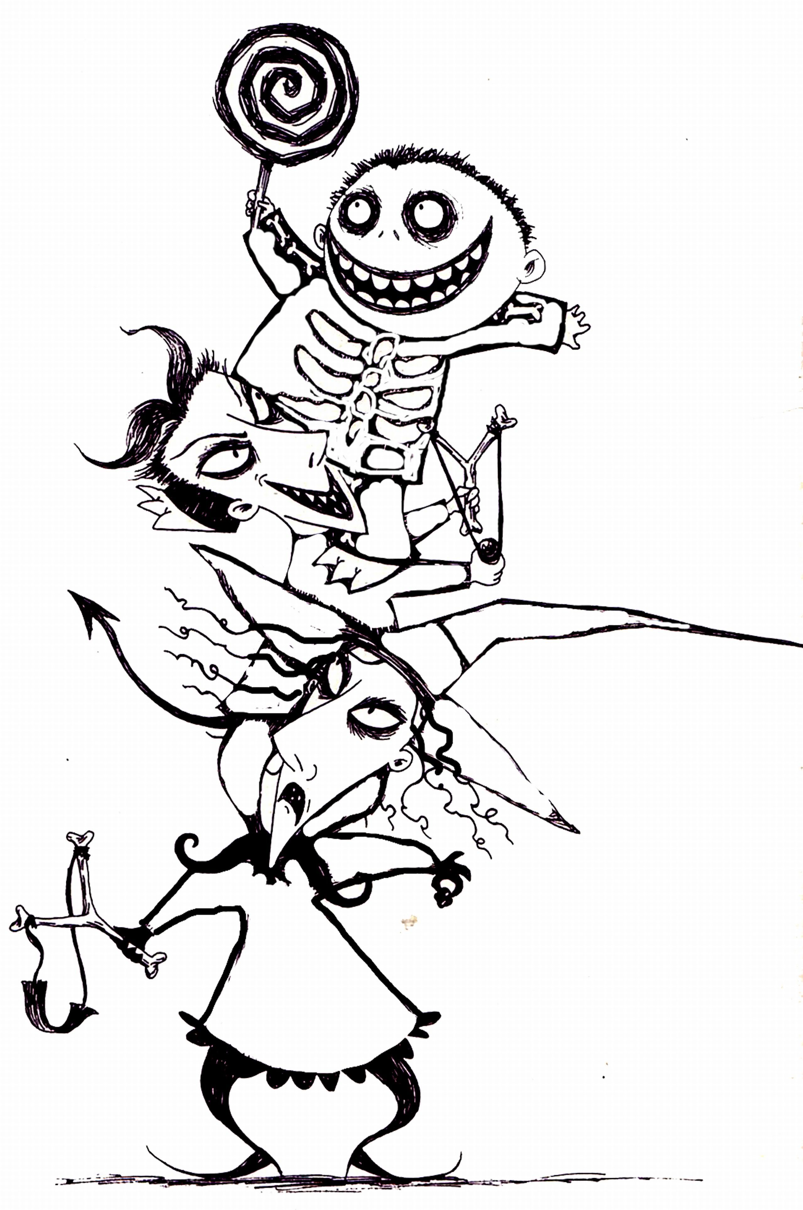2558x3856 Nightmare Before Christmas Characters Coloring Pages