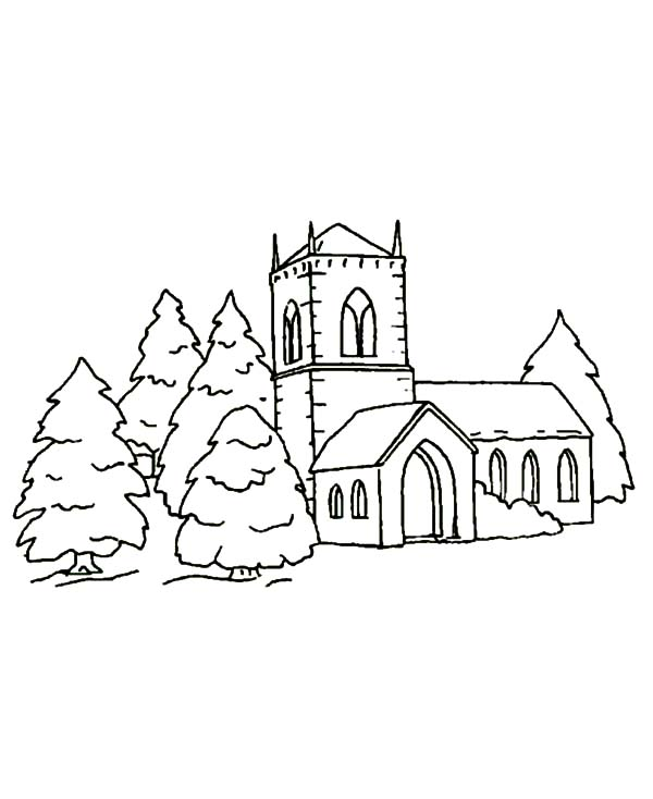 600x734 Christmas Church Covered In Snow Coloring Pages Best Place To Color