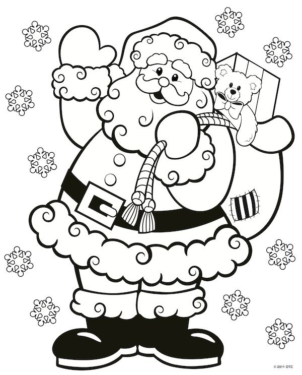 600x744 Christmas Coloring Pages Free Printable, Free And Santa