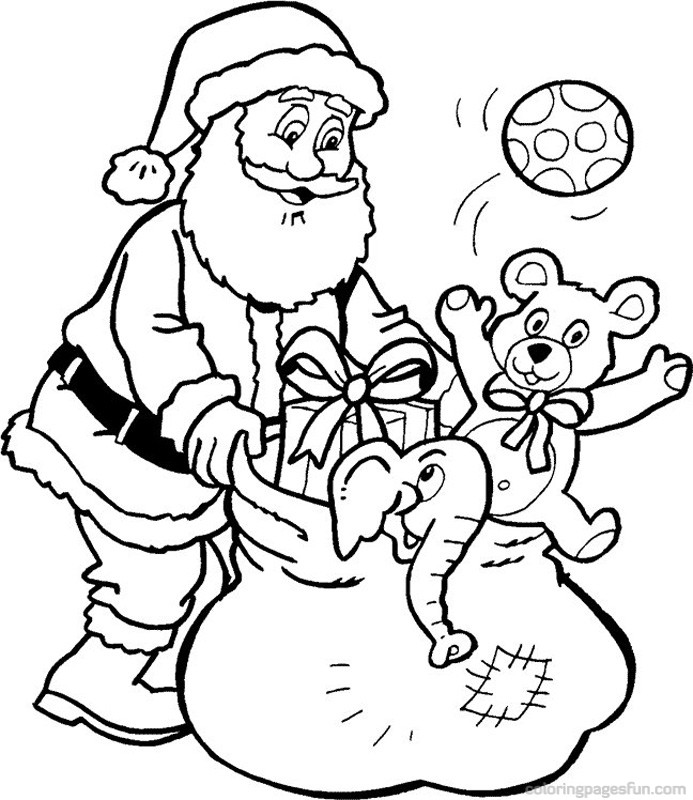 693x800 Father Christmas Colouring Pages