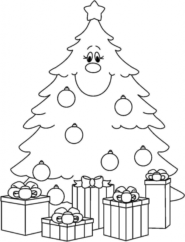 610x800 Christmas Tree Coloring Pages Merry Christmas