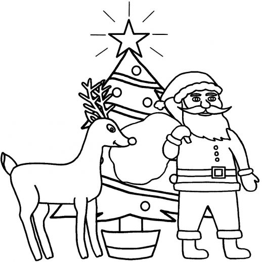 518x518 Santa Claus And Reindeer Standing Near Christmas Tree Ready