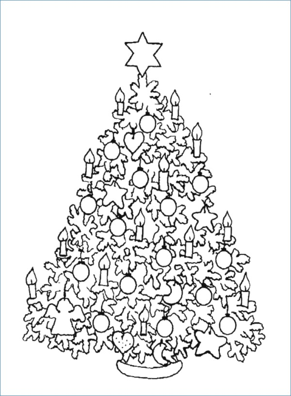 600x816 Cartoon Christmas Tree Coloring Pages