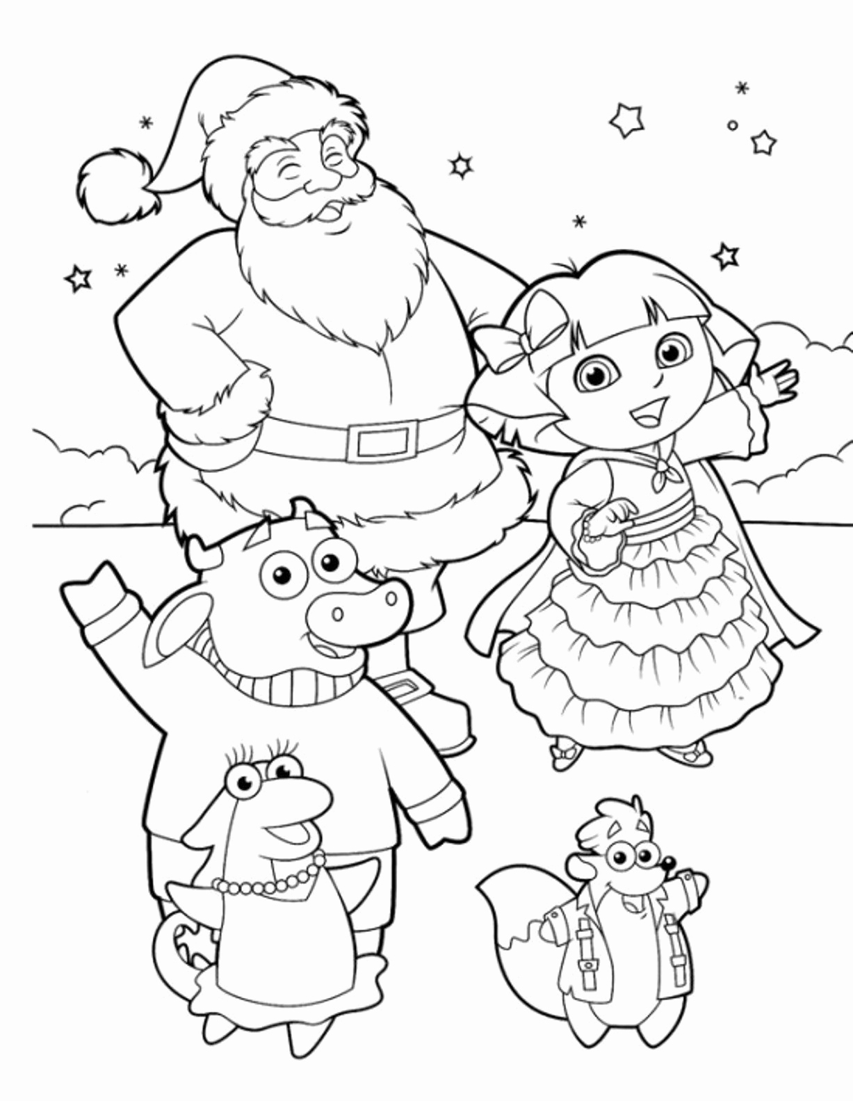 1227x1583 Christmas Coloring Pages Pdf Lovely Dora The Explorer Coloring