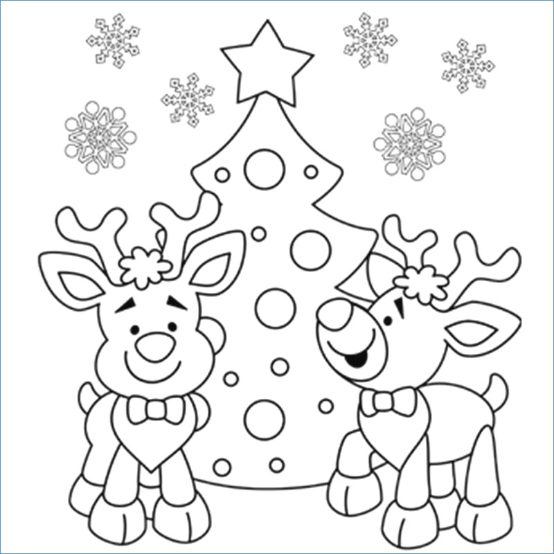 800x800 Christmas Tree Coloring Pages Children
