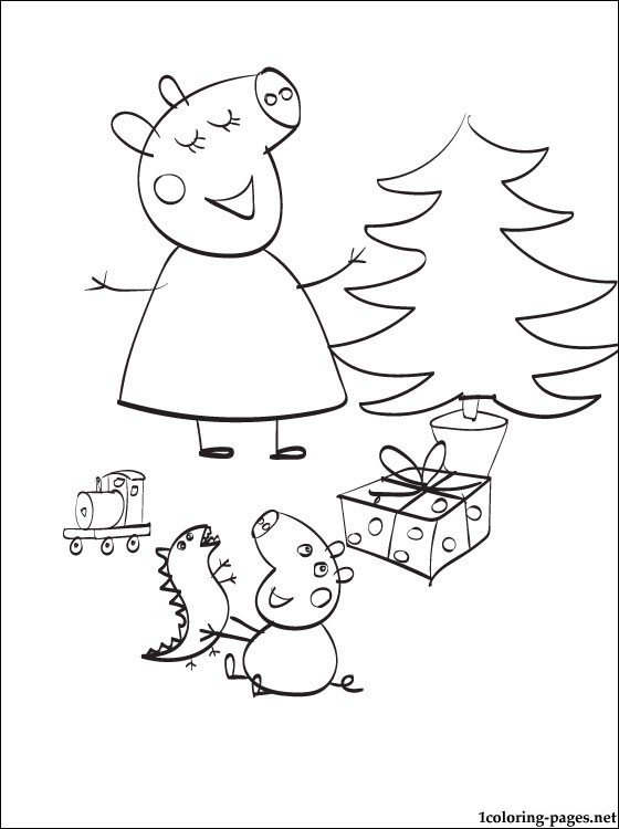 560x750 Peppa Pig Christmas Coloring Page Coloring Pages