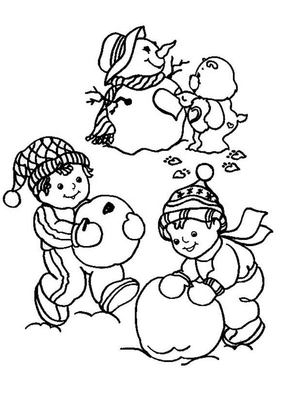 600x840 Young Children Making Mr Snowman For Christmas Coloring Page