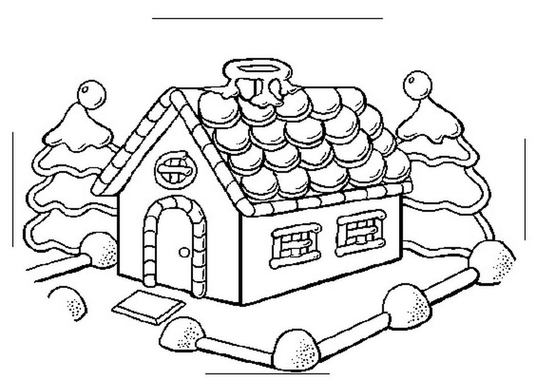 1048x743 Gingerbread House Coloring Page Elegant Christmas Coloring Pages