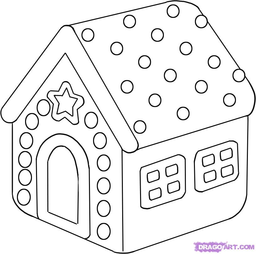 817x809 Gingerbread House Coloring Pages