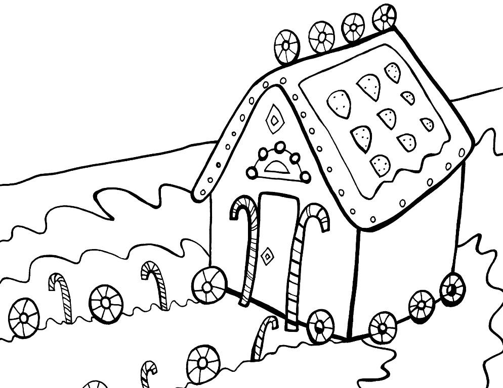 994x768 Christmas Coloring Pages Gingerbread House