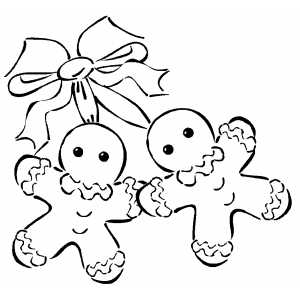 300x300 Gingerbread Men And Bow Coloring Page