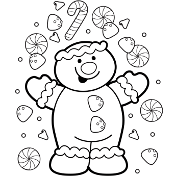 345x345 Christmas Gingerbread Coloring Page
