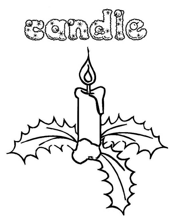 600x776 Gorgeous Christmas Candle And Mistletoe On Christmas Coloring Page