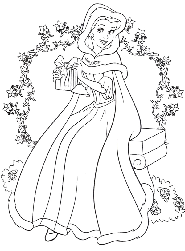 600x816 Free Printable Disney Princess Christmas Coloring Pages Disney