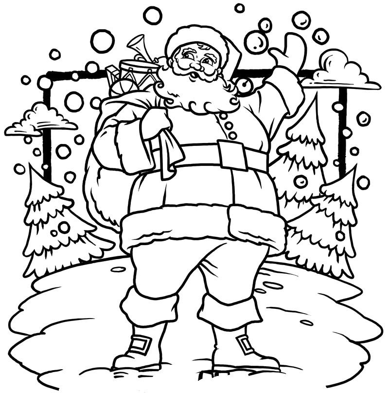 800x808 Christmas Santa Claus Coloring Pages Drawn Santa Christmas