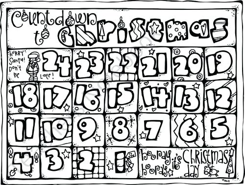 500x379 Christmas Countdown Coloring Pages Face Of Coloring Pages Coloring