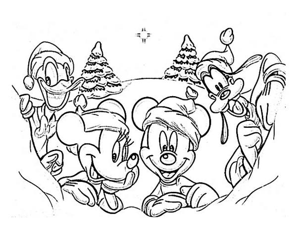 600x462 Disney Gang On Christmas Day Coloring Page