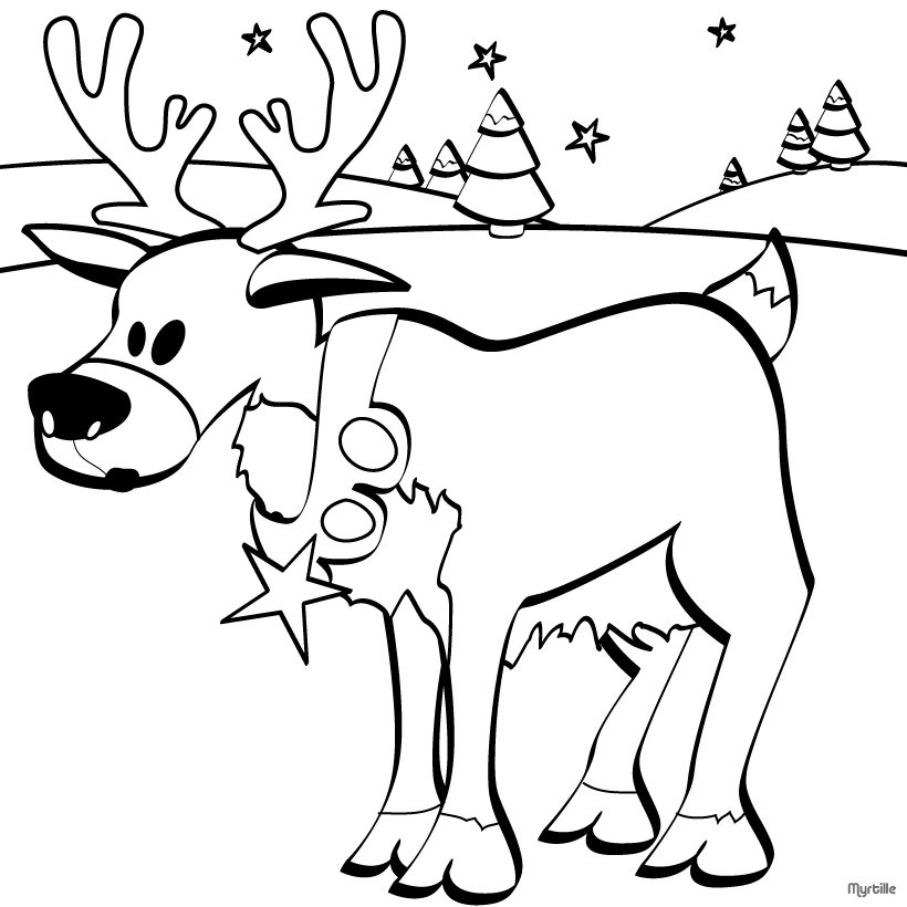 820x820 Christmas Reindeer Coloring Pages