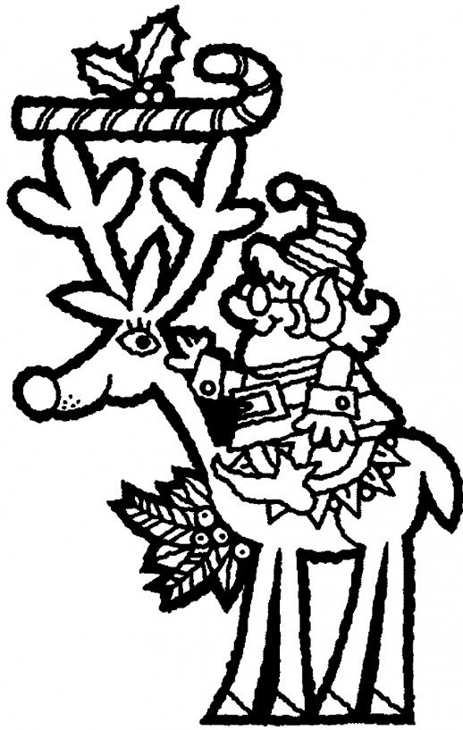 518x817 Santa Riding On Reindeer The Christmas Deer Coloring Pages